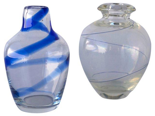 Blue Spiral Vases, Pair