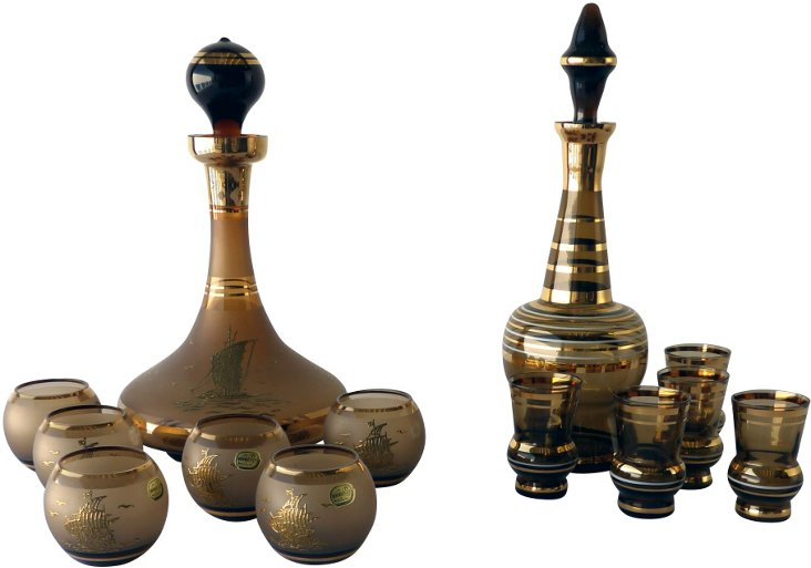 Brown & Gold Decanter Sets, Pair
