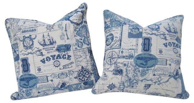 Blue Travel Print Linen Pillows, Pair