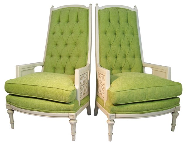 High-Back Tufted Armchairs, Pair