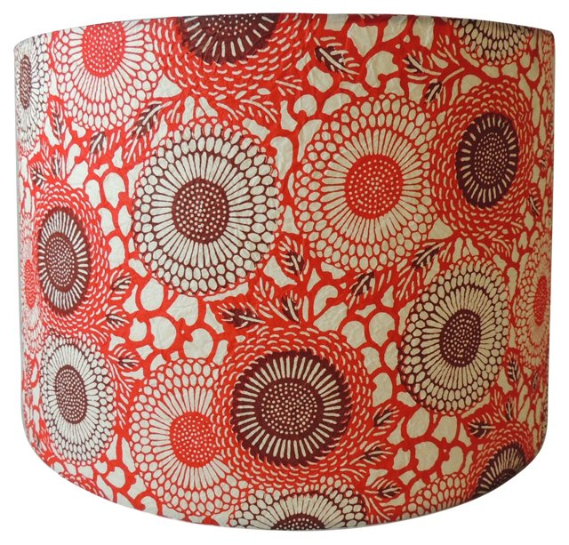 Red Paper Drum Shade
