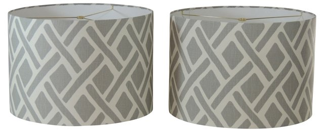 Gray & Soft White Linen Shades, Pair