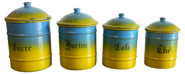 French Enamel Canisters, S/4