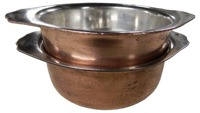 Antique Copper Casseroles, Pair