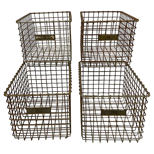 Midcentury Numbered Wire Baskets, S/4