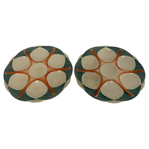 French Sarreguemines Oyster Plates