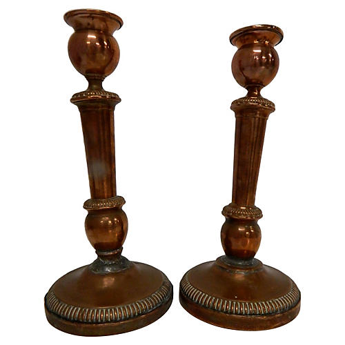 Antique French Copper Candlesticks, S/2