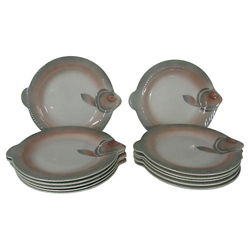 French Sarreguemines Fish Plates, S/12