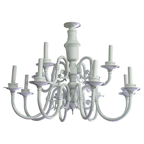 White Painted Brass Chandelier