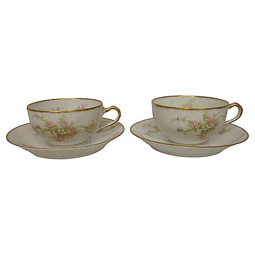 Théodore Haviland Teacups & Saucers, S/2