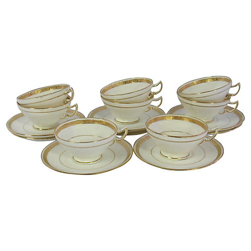 English Mintons Teacups & Saucers, S/8