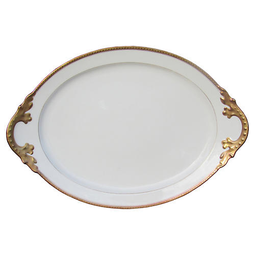 French Limoges Gilt Platter