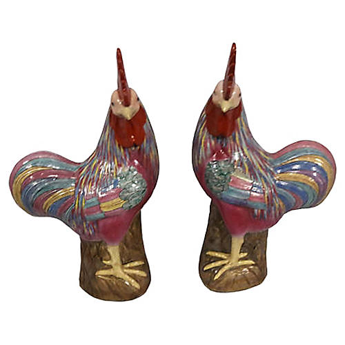 Chinese Famille Rose Roosters, Pair