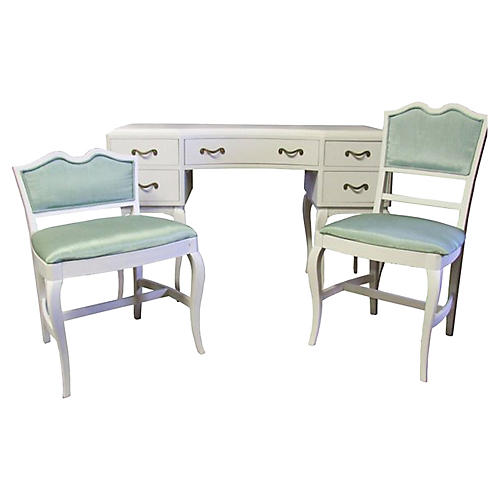 French Provincial Desk & Chairs, S/3