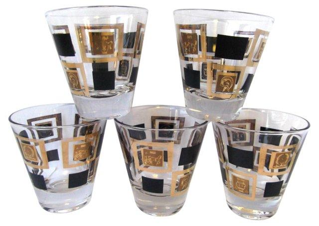 Black & Gold Rocks Glasses, S/5