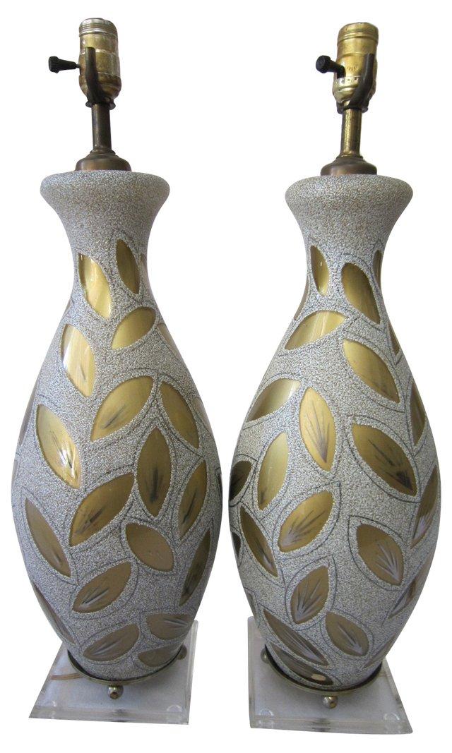 Midcentury German Glass Lamps, Pair