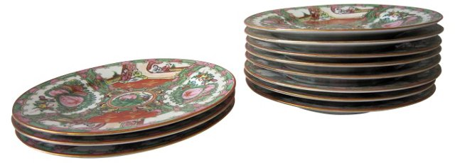 Rose Famille Plates, S/10
