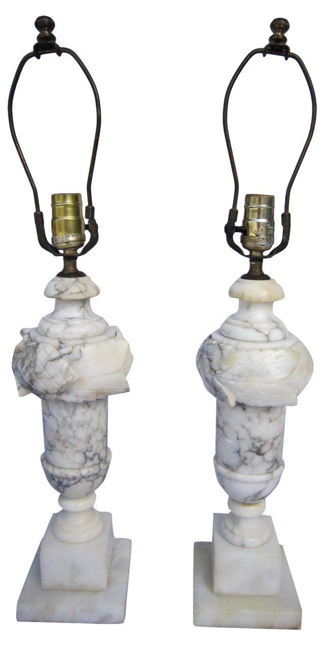 Carved Marble Lamps, Pair