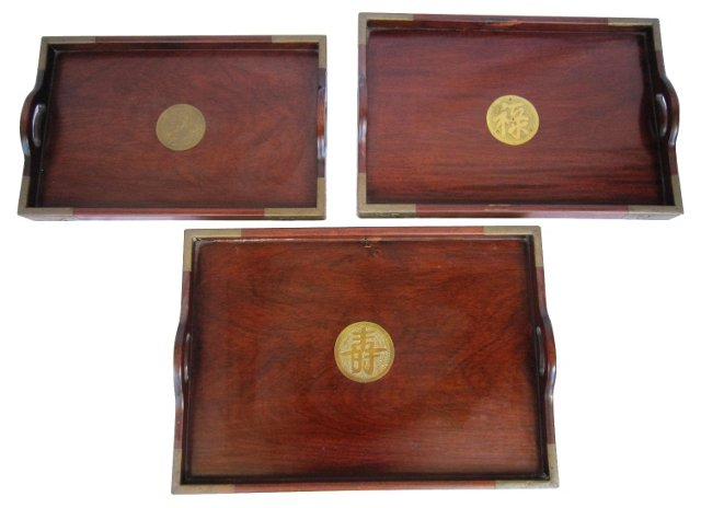 Asian Rosewood Trays, S/3