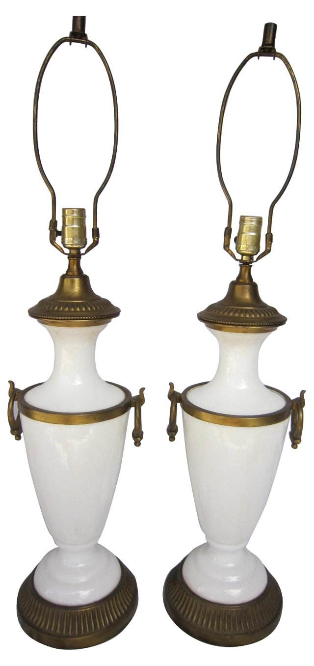 Opaline Glass Lamps, Pair
