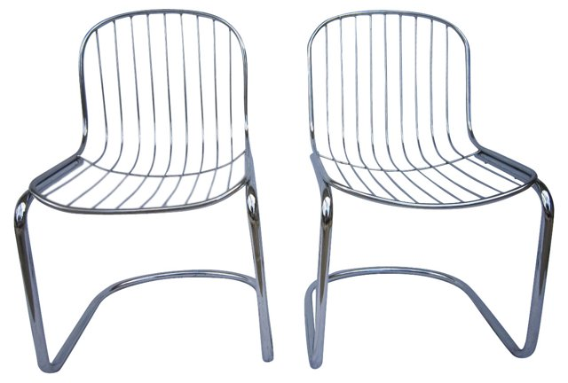 Chrome  Cantilevered Chairs, Pair