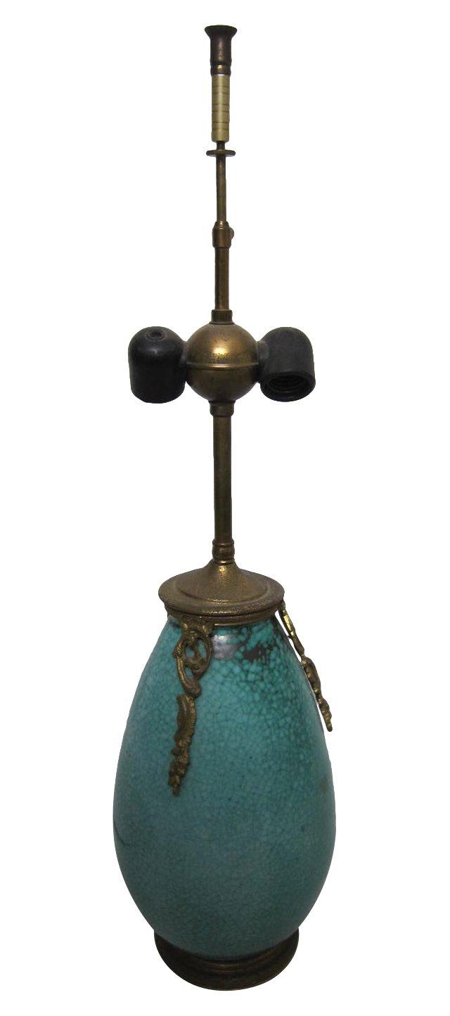 Turquoise Crackle Glaze Lamp