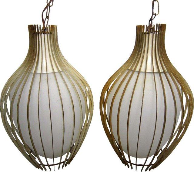Onion Pendant Lamps, Pair