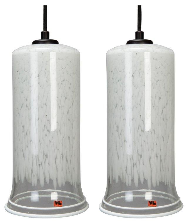 Midcentury Murano Glass Pendants, Pair