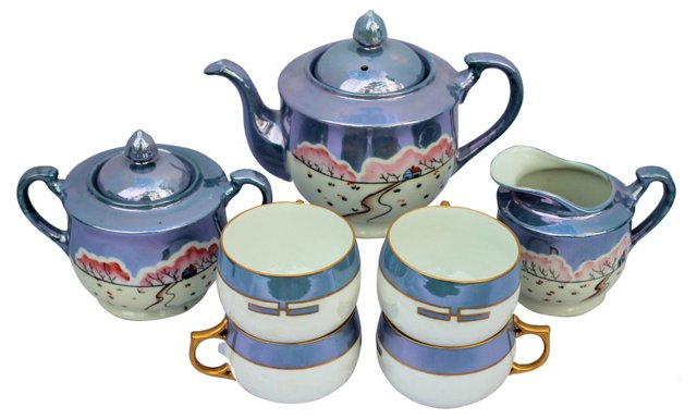 Lusterware  Tea Set, 7 Pcs