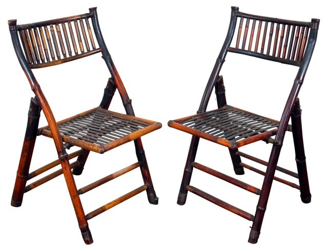 1920s Folding Bamboo Chairs, Pair