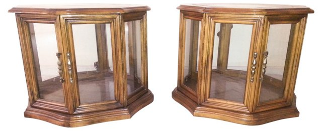 1970s Display End Tables, Pair