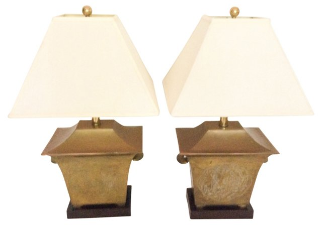 1960s Brass Chinoiserie Lamps, Pair