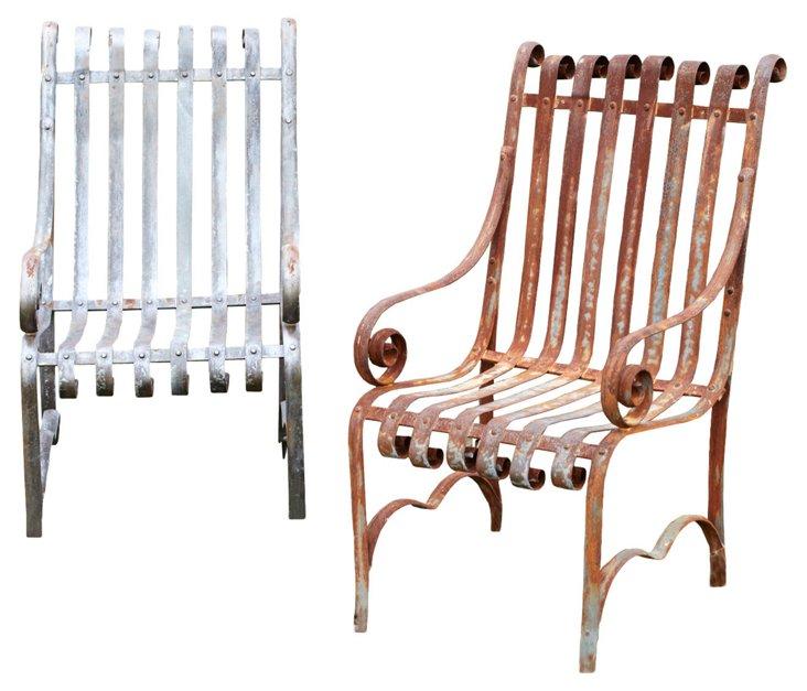 Iron Garden Chairs, Pair