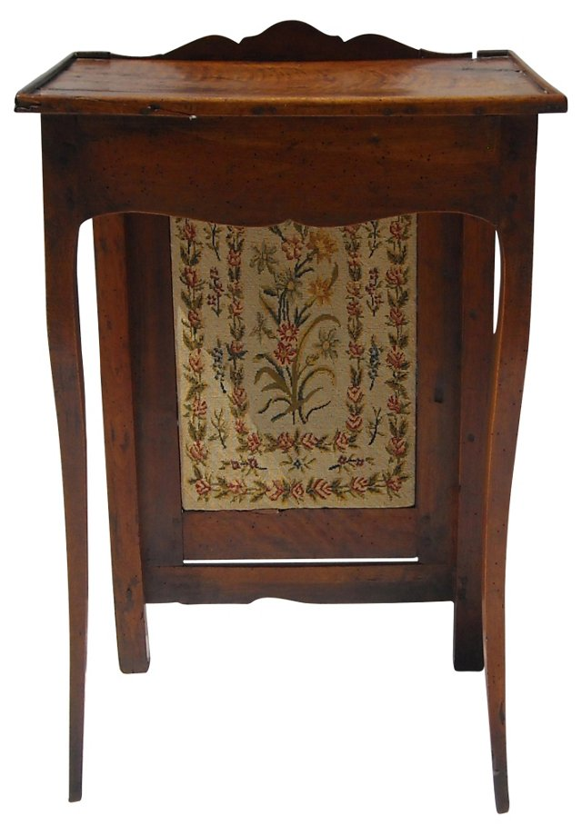 French Side Table w/ Needlepoint Screen