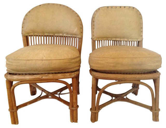 Rattan Chairs w/ Leather Cushions, Pair