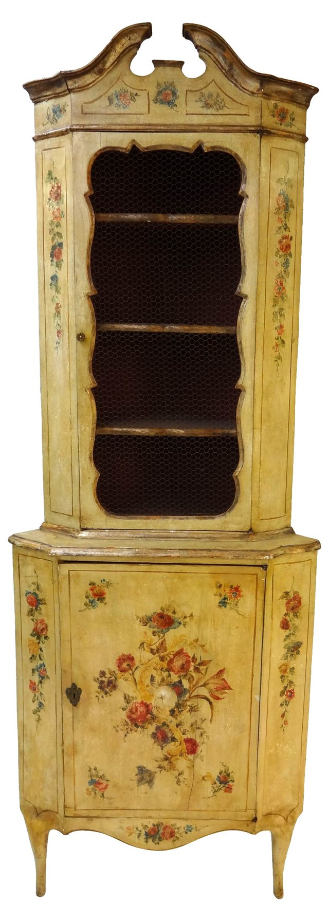 Hand-Painted Italian Corner Cabinet