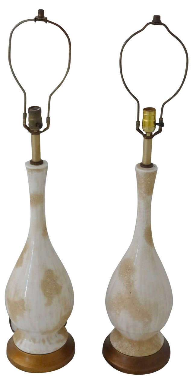 White & Beige Ceramic Lamps, Pair
