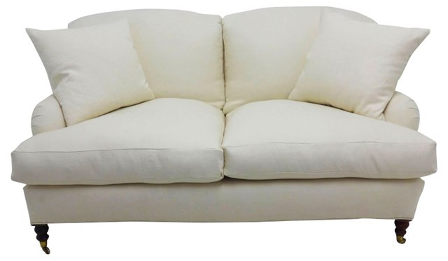George Smith-Style Settee w/ 2 Pillows