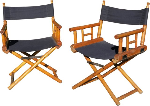 19th-C. French Campaign Chairs, Pair