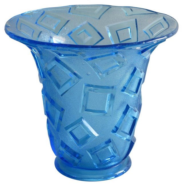 Czech Art Deco Blue Glass Vase