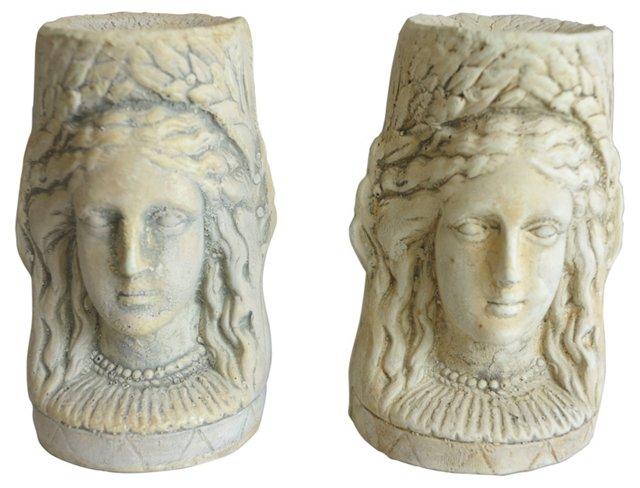 Plaster Athena Candlesticks, Pair