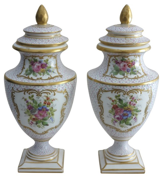 19th-C. Samson Porcelain Urns, Pair