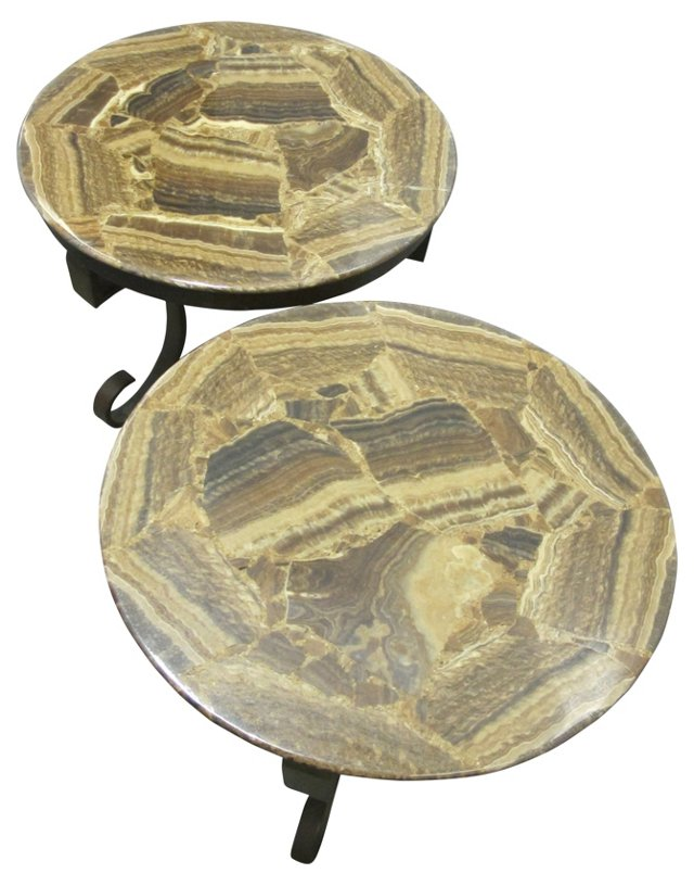 1960s Onyx & Bronze Lamp Tables, Pair
