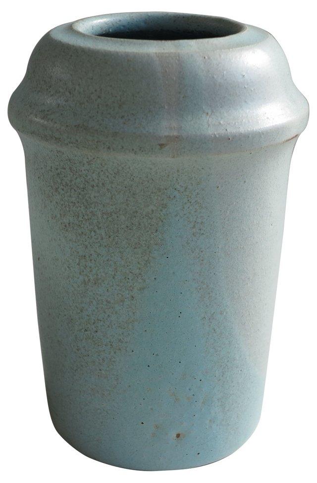 Vintage Robins Egg Blue Stoneware Vase