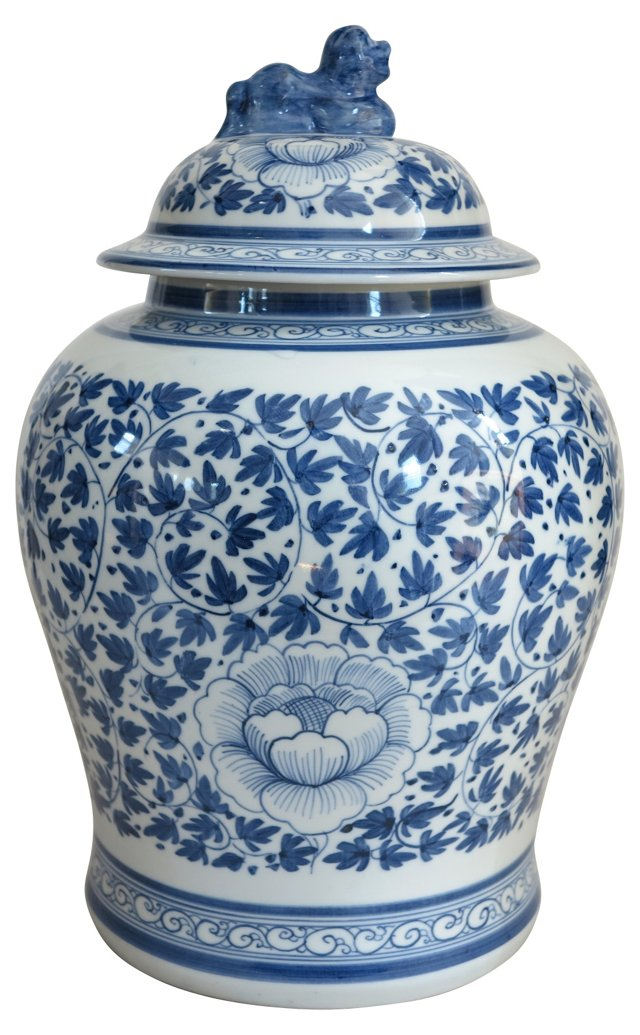 Midcentury Thai Blue & White Ginger Jar
