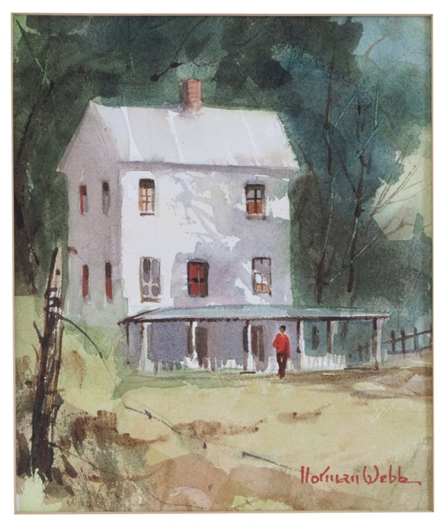 1950s Watercolor Painting by Norman Webb