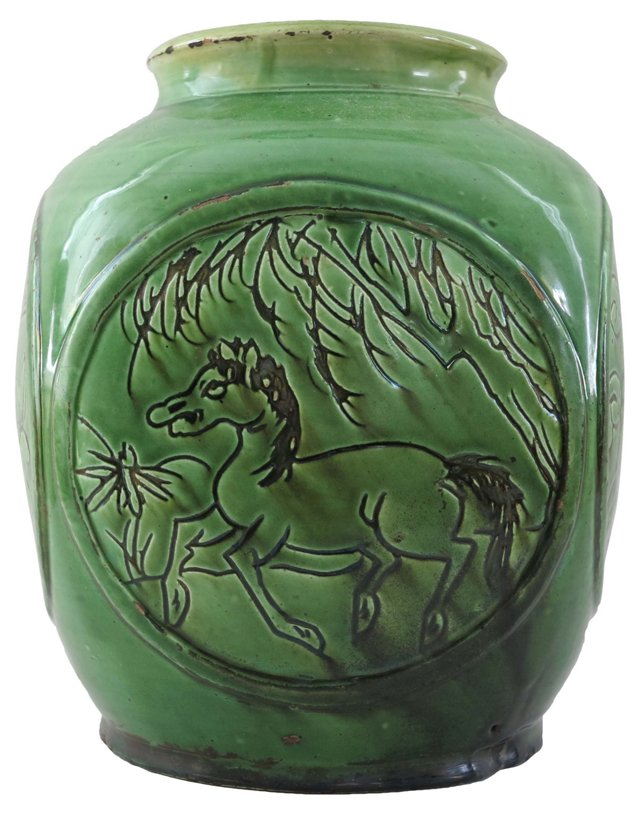 19th-C. Chinese Green Pottery Vase