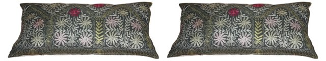 Uzbek Suzani Pillows, Pair