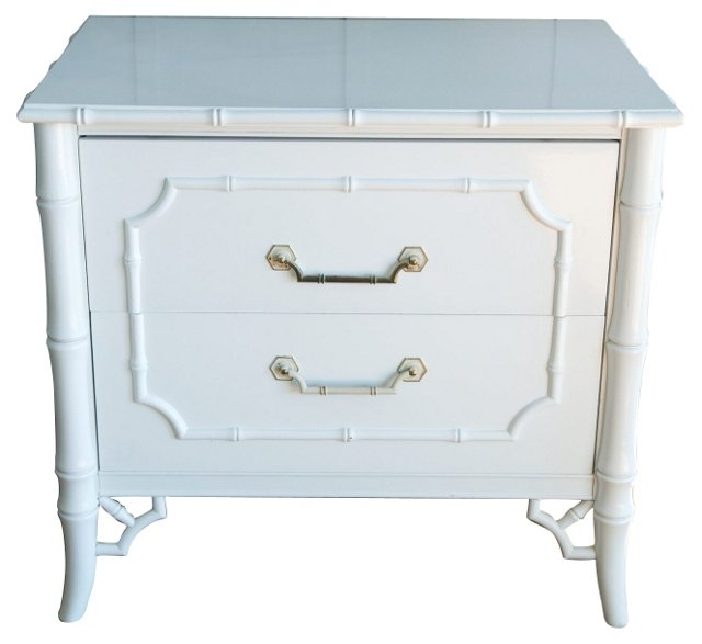 White Lacquer Faux-Bamboo Side Table
