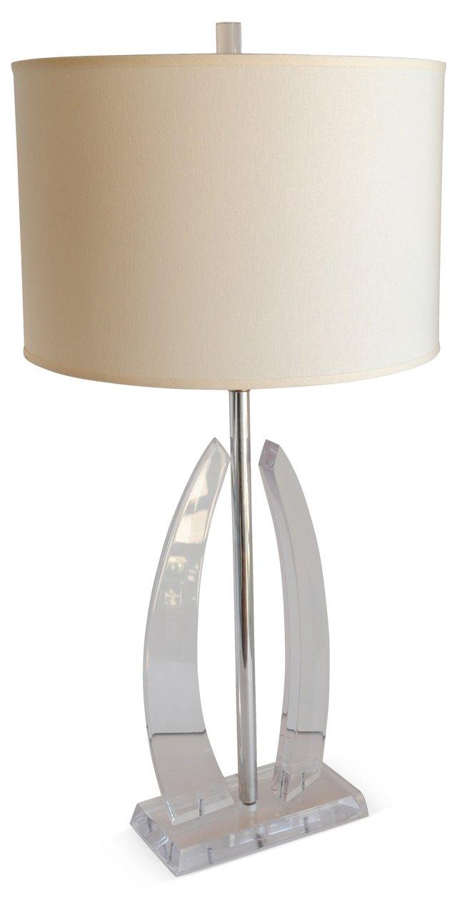 Lucite & Chrome  Lamp